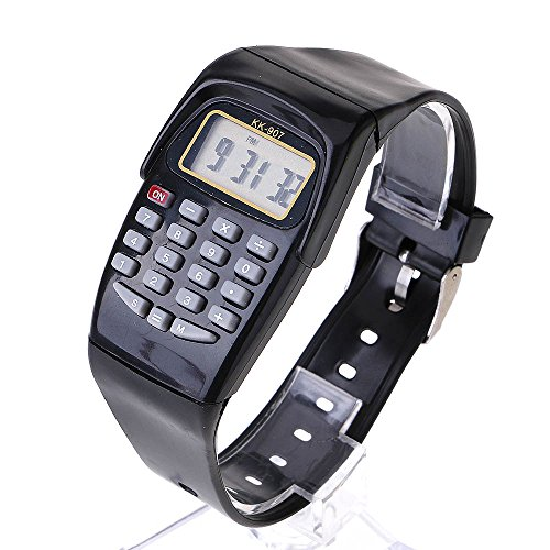 - VANKER 8-Digit Calculating Watch Digital Calculator with LED Light Watch Function Watch (Black)