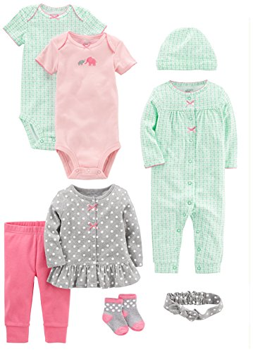 Simple Joys by Carter's Girls Baby 8-Piece Gift Set, Pink/Grey/Mint, 0-3 Months
