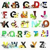 DIY A-Z Alphabet Animals Wall Sticker-Removable Alphabet Wall Decals Peel and Stick Wall Decor for Kids Nursery Baby (Style 1)