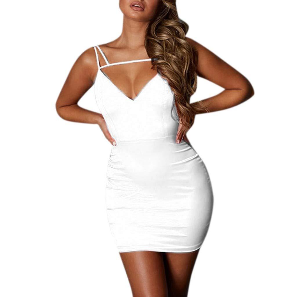 Sexy Womens Dress Fashion Ladies Solid Corlor Hollow Cat V-Neck Slim Mini Dress Party Club Evening Dress White