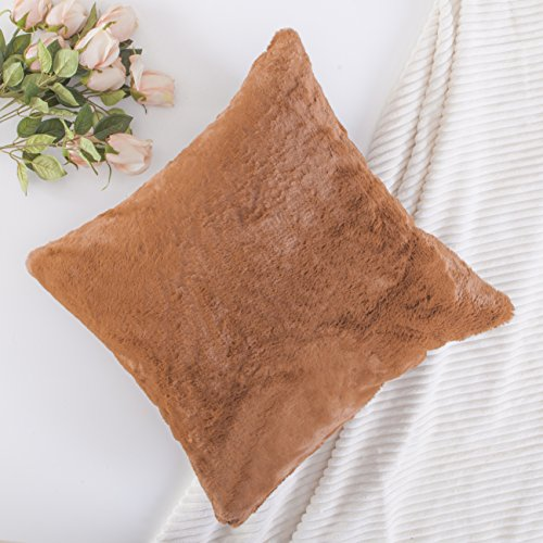 Home Brilliant Plush Mongolian Faux Fur/Suede Square Throw Pillow Cover Deluxe Fluffy Sheepskin Cushion Case Shell for Patio, Pillow Not Included, 1 Pc, 18 inch, Brown Sheepskin Square Pillow