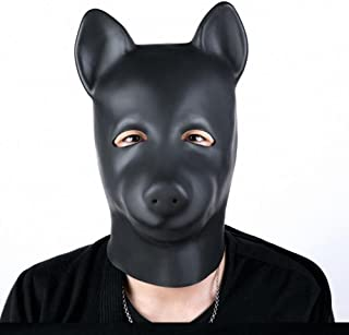 Mask Costume Halloween Hood Full Head Face Fetish Adult Rubber Mash with the Hole for Mouth role play Spandex Leather , pig head set, Cosy-L