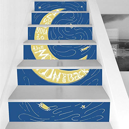 (Stair Stickers Wall Stickers,6 PCS Self-Adhesive,I Love You,Crescent Moon Maze with Comet Stars Swirls Celebration Birthday Print,Violet Blue Yellow,Stair Riser Decal for Living Room, Hall, Kids Room)