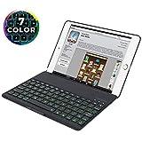 2018/2017 New iPad 9.7 Inch Bluetooth Keyboard Case,Durwyn iPad 6 keyboard Case,iPad 5 Keyboard Case,iPad Air 1 keyboard Case,7 Colors LED Backlight Bluetooth Keyboard Case, Sleep/Wake (Black)