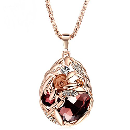 Tulip Floral Sconce (The Starry Night Rose Gold Plated Red Crystal Flower Drop Diamond Accented Mother's Day Gift Necklace)