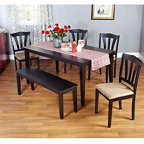 Metropolitan Black 6-Piece Dining Set with Table, Bench and Four Chairs for Dining Room, Kitchen or Nook for Meals, Dinner, Supper, Lunch or Breakfast with Family and Friends (Black)