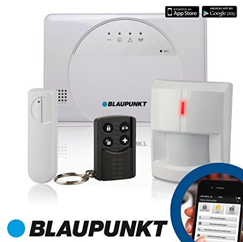 Blaupunkt - SA 2500 Smart GSM Funk Alarmanlage fürs Haus, Steuerung mit Smartphone App (Standard Set: 1 x Funk-Türkontakt , 1 x Funk-Bewegungsmelder und 1 x Funk-Fernbedienung)