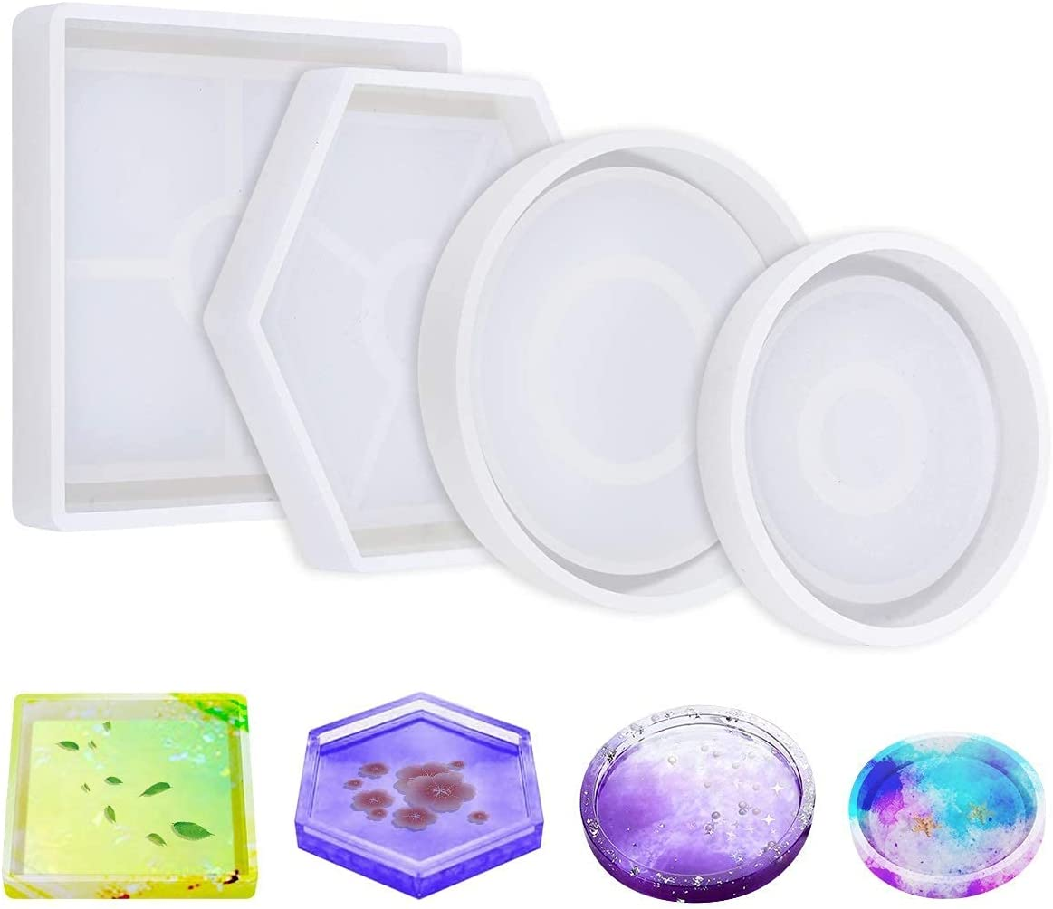 4 Pack DIY Coaster Silicone Mold, Include Round, Square, Hexagon, Molds for Casting with Resin, Cement