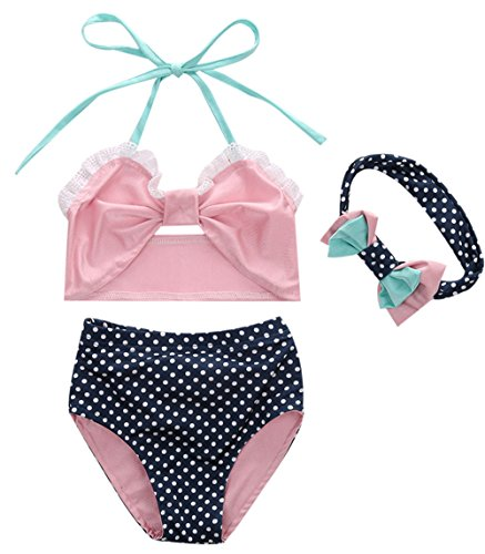 Kids Girls Cute Big Bowknot Polka Dots Two-Pieces Bikini Set Swimsuit With Headband Size 3-4Years/Tag 100 (3 Piece Polka Dots Bikini)