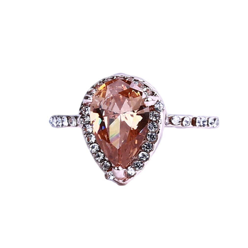 EH-LIFE Women Ring Rose Gold Champagne Diamond Ring Pear Shape Deco Ring Birthstone Ring Promise Ring Alloy Birthday Gift Size 6 by EH-LIFE (Image #1)