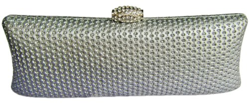 Crystal Hard Clutch – Silver, Bags Central