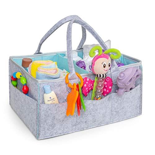 Baby Diaper Caddy Organizer | Baby Shower Gift Basket for Boys Girls | Nursery Storage Bin for Changing Table | Portable Car Travel Organizer | Felt Tote Bag | Large Grey Aqua