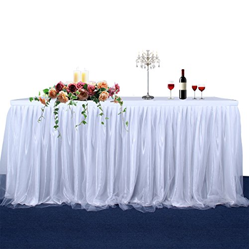 CO-AVE Tulle White Table Skirt 6FT for Round Or Rectangle Tables Dessert Tutu Table Skirting for Wedding Baby Shower Birthday Party Decorate(L72InchH30Inch)