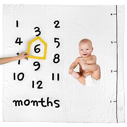 MARI New York Manta de bebé con Marco de Fotos – recién Nacido Primer año mensual