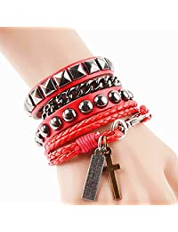 Y-blue Jesus Cross Street Rock Punk Leather Multilayer Bracelet 6 Color