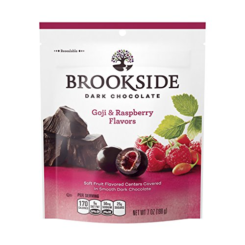 BROOKSIDE Dark Chocolate Candy, Goji & Raspberry Flavors, 7 Ounce Bag (Pack of 4)