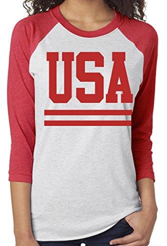 - SoRock USA with Stripes 3/4 Sleeve Tri Blend Raglan Tshirt XLarge Red w/White