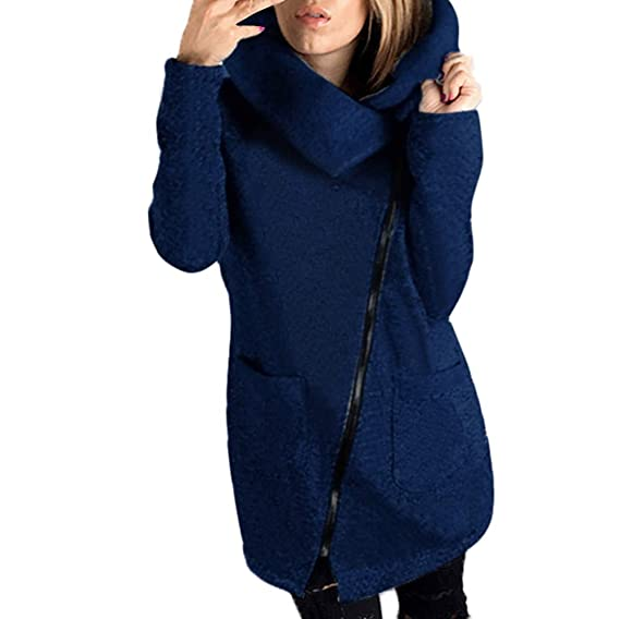 Suéter de otoño e Invierno,Modaworld Suéter de Manga Larga para Mujer Chaqueta de Bolsillo de Solapa Abrigo con Cremallera Diagonal: Amazon.es: Ropa y ...