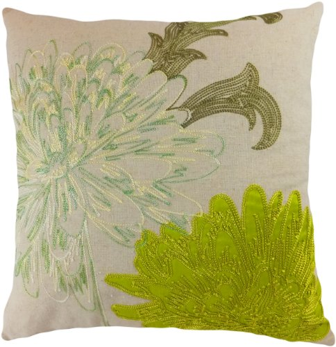 Decorative Flower Emboirdery & Applique Floral Throw Pillow