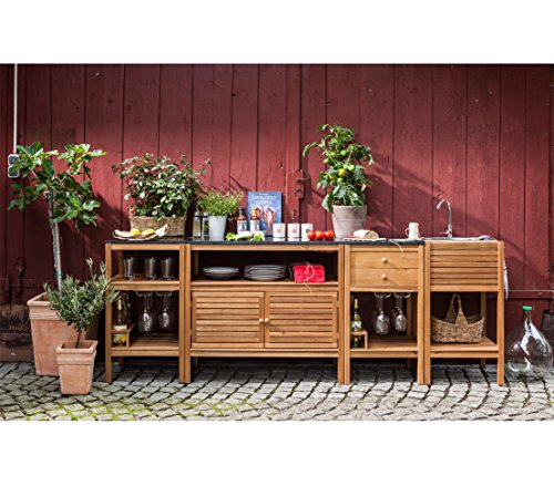Dehner Southhampton Sink Unit, Stainless Steel Sink, Tap And Hooks, Approx.  50 X 50 X 90 Cm, FSC Acacia Wood, Natural: Amazon.co.uk: Garden U0026 Outdoors