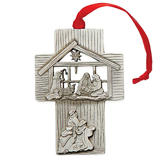 Christ The Savior is Born Rosy Red 3 x 2 Pewter Metal Christmas Ornament