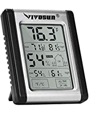 VIVOSUN Digital Indoor Thermometer & Hygrometer with Humidity Guage (1 Pack), Accurate Temperature Humidity Monitor Meter for Home, Office, Indoor Garden (Button Battery Included)