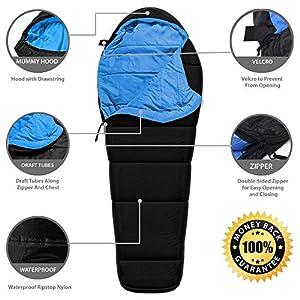 Sleeping Bag - Mummy Style, Waterproof, Portable, Lightweight 3-Season Outdoor Sleep Bag – Ideal For Camping, Hiking, Traveling, Backpacking, Men, Women, Kids - Heavy-Duty Ultralight Compression Sack
