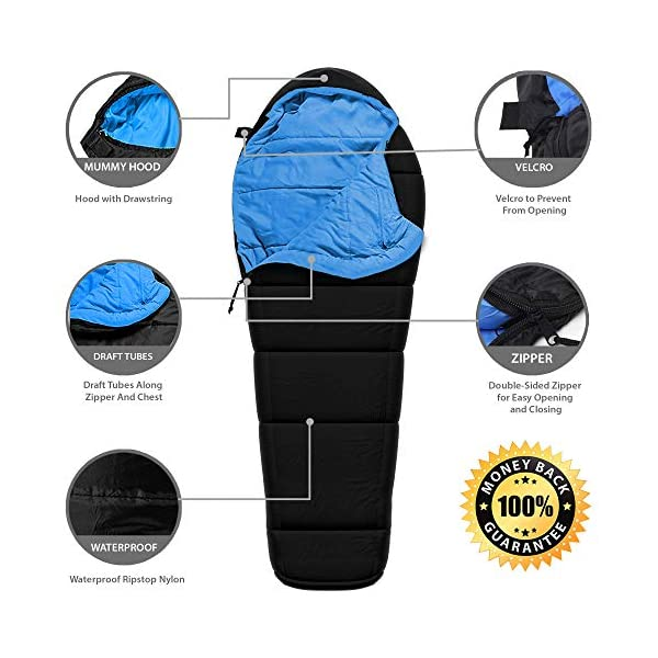 Sleeping Bag - Mummy Style, Waterproof, Portable, Lightweight 3-Season Outdoor Sleep Bag - Ideal For Camping, Hiking, Traveling, Backpacking, Men, Women, Kids - Heavy-Duty Ultralight Compression Sack 5