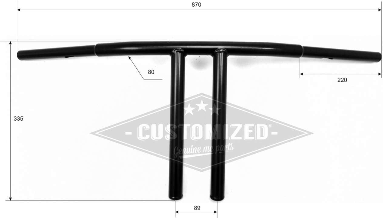 Manubrio Fat T-bar Club Style 12 nero per Harley Davidson
