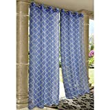 Cheap Wrought Iron Print Indoor Outdoor Grommet Curtain Collection (Blue, 96″ Long)