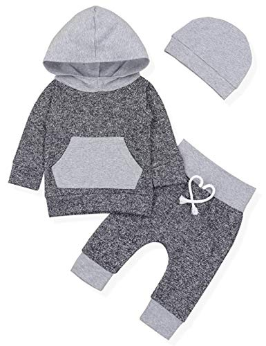 Baby Boy Girl Clothes Long Sleeve Hoodie Sweatshirt with Striped Pants 2Pcs Outfit Set (A-Grey, 6-12 Months)