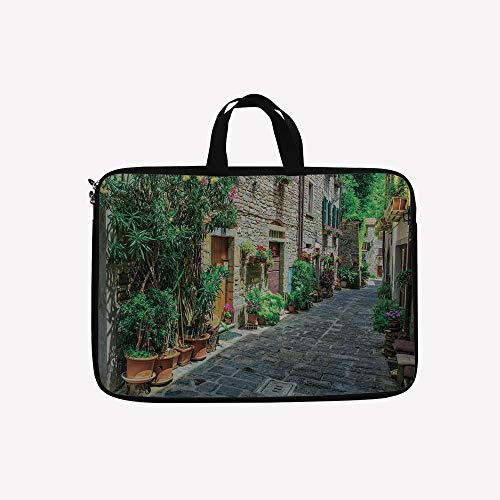 Flowering Trunk (3D Printed Double Zipper Laptop Bag,Build with Cobblestone with Many Flowering Plants,14 inch Canvas Waterproof Laptop Shoulder Bag Compatible with 14