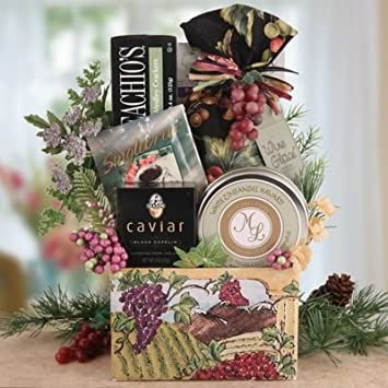 a vineyard country christmas wine themed gift basket