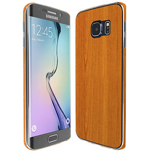 Skinomi Light Wood Full Body Skin Compatible with Samsung Galaxy S6 Edge (Full Coverage) TechSkin with Anti-Bubble Clear Film Screen Protector