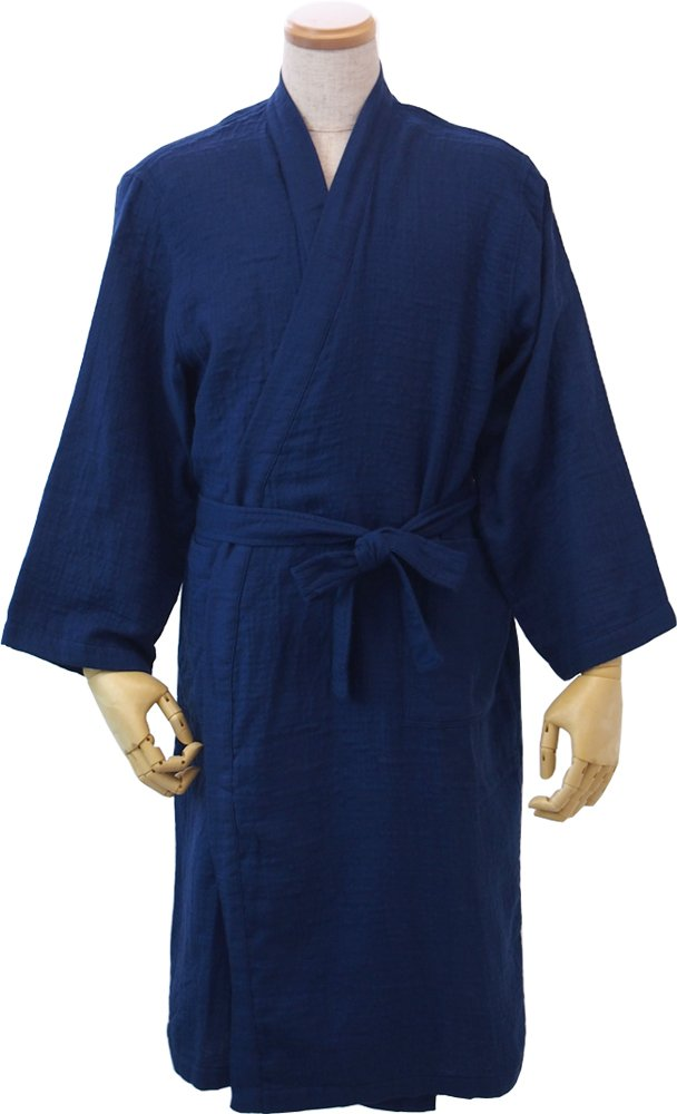 (内野)UCHINO マシュマロガーゼローブN(M) M 着丈111cm、身丈58cm、裄丈78cm B011731UIO ブルー ブルー