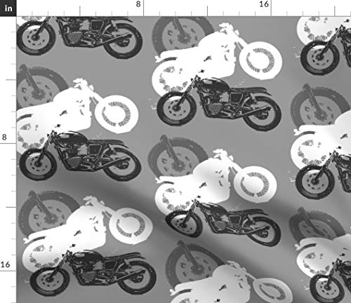 (Motorcycles Fabric - Moto Madness Silhouettes Gray White Black Bikes Motorcycle Wheels Tires Large Print on Fabric by the Yard - Petal Signature Cotton for Sewing Quilting Apparel Crafts Decor)