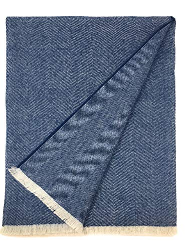Alpaca Home 100% Pure Premium Alpaca Wool Throw Blanket • Herringbone Weave • Ethically Sourced | Hypoallergenic - Cozier, Softer & Warmer Than Wool | 71 in. X 51 in. | Limited Edition (Indigo) ()