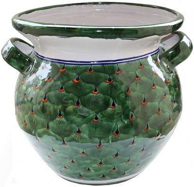 (Fine Crafts Imports Huge Peacock Talavera Ceramic Pot)