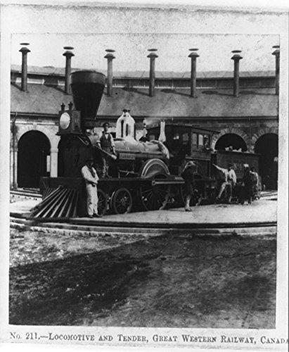 1859 Photo Locomotive and tender, Great Western Railway, Canada the locomotive