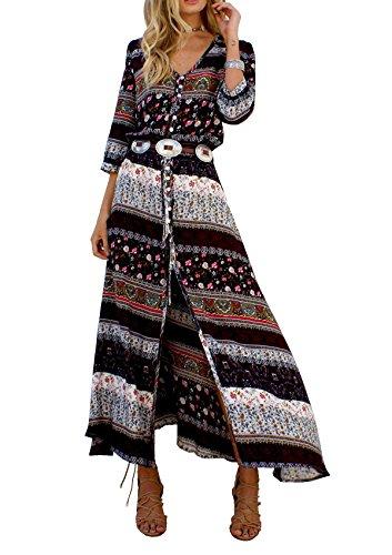 Hippie Tunic Shirt (R.Vivimos Women Summer Print V Neck Maxi Dresses 2XL)