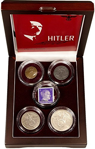 DE 1939 Adolf Hitler: A Collection of Four Coins and One Stamp In Wood Box with Certificate And Story Very Good