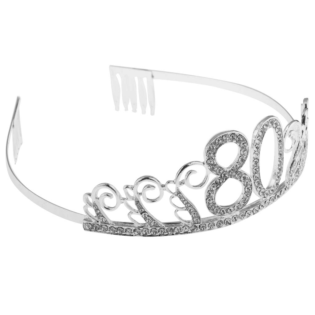 Prettyia Silver Birthday Tiara Headband Headpiece Party Hair Accessories Age 30 80