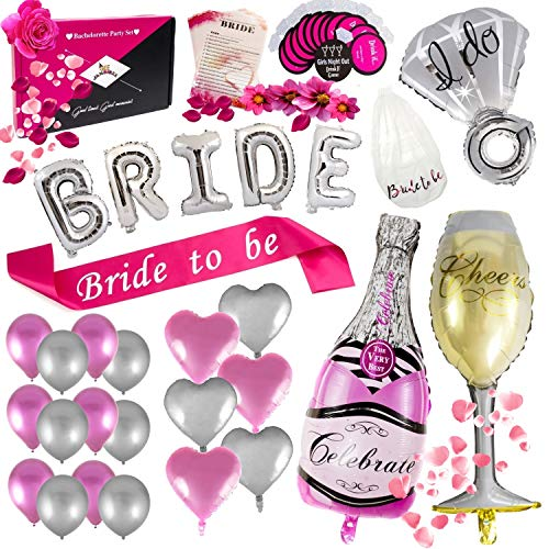 GEE JAMBOREE Classy Bachelorette Party Decorations - 52-Piece Bridal Shower Supplies Decor Kit & Drinking Game Cards - All-in- One Chic Decoration Set