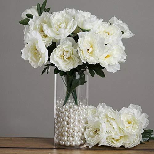 (Mikash Silk Peonies Flowers Wedding Party Bouquets Decorations Centerpieces Wholesale | Model WDDNGDCRTN - 2032 | 4 Bushes)