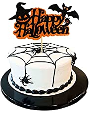 Ercadio 1 Pack Happy Halloween Cake Topper Assembled Glitter Bat Ghost Pumpkin Hat Halloween Cake Pick Decorations for Halloween Theme Birthday Party Supplies