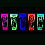 UV Glow Neon Face & Body Paint - 0.34oz Set of 5 - Fluorescent & Super Bright