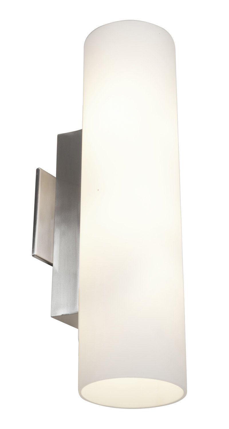 Tabo - Vanity - Brushed Steel Finish - Opal Glass Shade