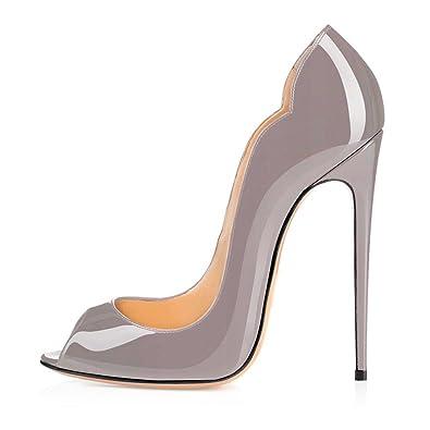 the latest fc71f befb9 Soireelady Damen Peep Toe Pumps,Stilettoabsatz High Heels,Übergröße Lack  Schuhe