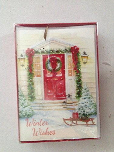 (Vintage Sled in front of Red Door with wreath & Garland Winter Wishes 16 Christmas Cards &)