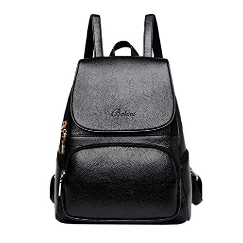 Xinwcang Mochilas Mujer, Moda Multi-bolsillos Mochila Bolso del Hombro Casual Bolsa de Mano de Viaje Escolares Vintage Negro